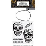 Hampton Art - Halloween Collection - Designer Die and Clear Acrylic Stamps Set - Skulls