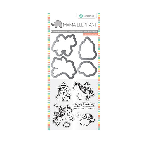 Hampton Art - Die and Clear Acrylic Stamp Set - Over the Rainbow