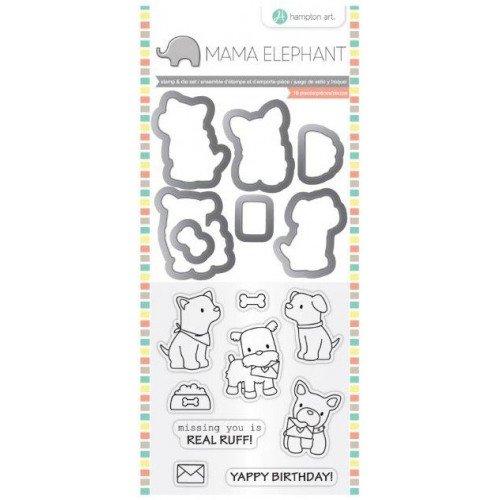 Hampton Art - Die and Clear Acrylic Stamp Set - Puppy Play