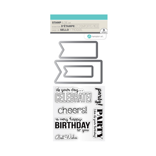 Hampton Art - Die and Clear Acrylic Stamp Set - Birthday Banners
