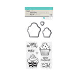 Hampton Art - Die and Clear Acrylic Stamp Set - Cupcakes