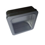 Hampton Art - Square Tin Box with Clear Lid - Silver