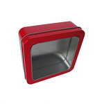 Hampton Art - Square Tin Box with Clear Lid - Red