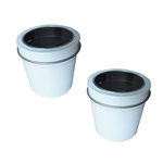 Hampton Art - Small Round Tin with Clear Lid - 2 Pack - White