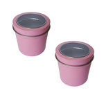 Hampton Art - Small Round Tin with Clear Lid - 2 Pack - Pastel Pink