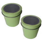 Hampton Art - Small Round Tin with Clear Lid - 2 Pack - Pastel Lime