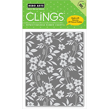 Hero Arts - Clings - Repositionable Rubber Stamps - Revesed Flowers and Leaves, CLEARANCE