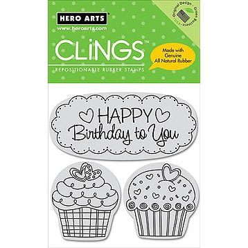 Hero Arts - Clings - Repositionable Rubber Stamps - Happy Birthday Cupcakes