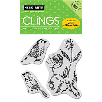 Hero Arts - Clings - Repositionable Rubber Stamps - Two Birds