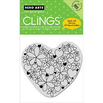 Hero Arts - Clings - Valentines - Repositionable Rubber Stamps - Hearts and Flowers, CLEARANCE