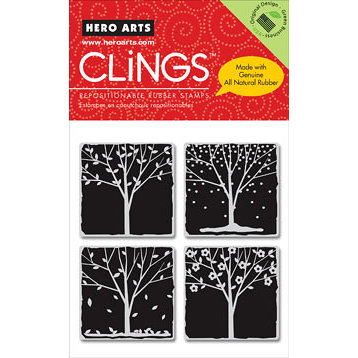 Hero Arts - Clings - Christmas - Repositionable Rubber Stamps - Trees of the Season - Set of Four
