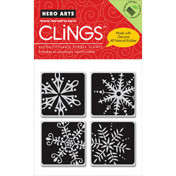 Hero Arts - Clings - Christmas - Repositionable Rubber Stamps - Four Framed Snowflakes - Set of Four