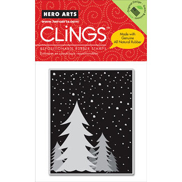 Hero Arts - Clings - Christmas - Repositionable Rubber Stamps - Snowy Night