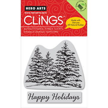 Hero Arts - Clings - Christmas - Repositionable Rubber Stamps - Happy Holiday Trees - Set of Two