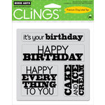 Hero Arts - Clings - Repositionable Rubber Stamps - Birthday - Set of Four