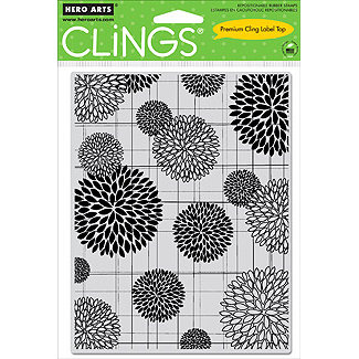 Hero Arts - Clings - Repositionable Rubber Stamps - Flower Bursts Pattern
