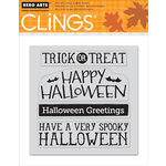 Hero Arts - Clings - Halloween - Repositionable Rubber Stamps - Halloween Messages - Set of Four