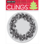 Hero Arts - Clings - Christmas - Repositionable Rubber Stamps - Pinecone Wreath