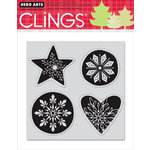 Hero Arts - Clings - Christmas - Repositionable Rubber Stamps - Snowflake Shapes - Set of Four