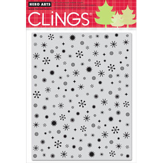Hero Arts - Clings - Christmas - Repositionable Rubber Stamps - Tiny Flakes Background