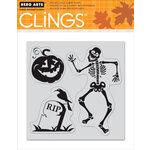 Hero Arts - Clings - Halloween - Repositionable Rubber Stamps - Skelton Dancing - Set of Three