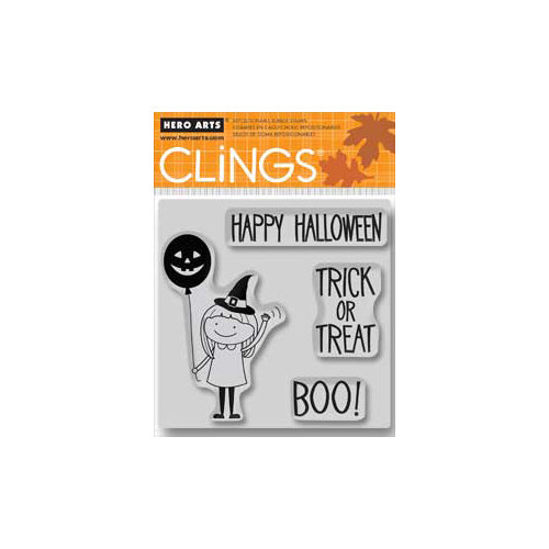 Hero Arts - Clings - Halloween - Repositionable Rubber Stamps - Girl with Balloon