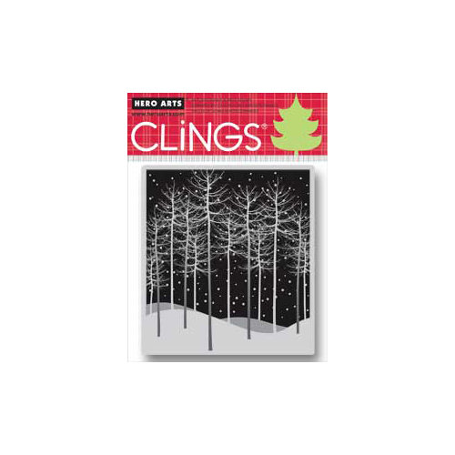 Hero Arts - Clings - Christmas - Repositionable Rubber Stamps - Winter Trees