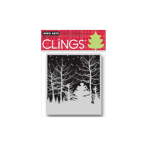 Hero Arts - Clings - Christmas - Repositionable Rubber Stamps - Snowy Winter Nights