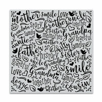 Hero Arts - Clings - Repositionable Rubber Stamps - Family Word Bold Prints