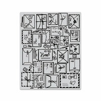 Hero Arts - Clings - Repositionable Rubber Stamps - Mail Jumble Background