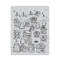 Hero Arts - Christmas - Repositionable Rubber Stamps - Winter Village Peek-A-Boo