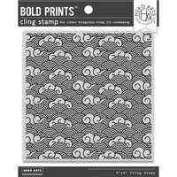 Hero Arts - Clings - Repositionable Rubber Stamps - Waves and Clouds Bold Prints