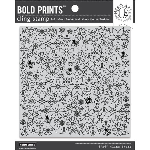 Hero Arts - Clings - Repositionable Rubber Stamps - Bees and Flowers Bold Prints