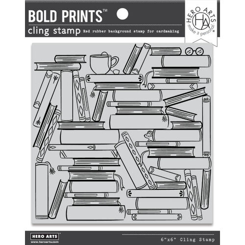Hero Arts - Repositionable Rubber Stamps - Book Stacks Bold Prints