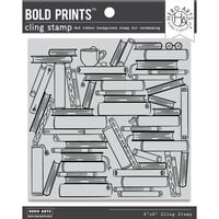 Hero Arts - Clings - Repositionable Rubber Stamps - Book Stacks Bold Prints