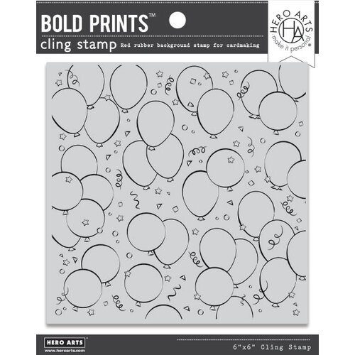 Hero Arts - Clings - Repositionable Rubber Stamps - Birthday Balloons Bold Prints