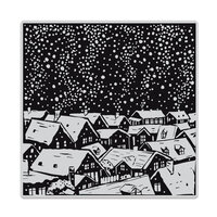 Hero Arts - Clings - Repositionable Rubber Stamps - Snowy Rooftops Bold Prints