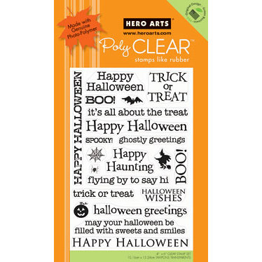 Hero Arts - Poly Clear - Halloween - Clear Acrylic Stamps - Happy Halloween
