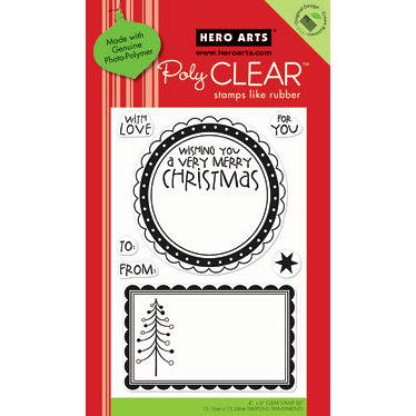 Hero Arts - Poly Clear - Christmas - Clear Acrylic Stamps - Large Christmas Tags