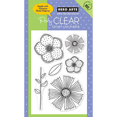 Hero Arts - Poly Clear - Clear Acrylic Stamps - Big and Small Flowers