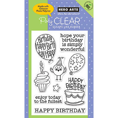Hero Arts - Poly Clear - Clear Acrylic Stamps - Wonderful Birthday