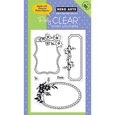 Hero Arts - Poly Clear - Clear Acrylic Stamps - Three Floral Frames