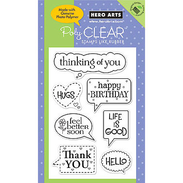 Hero Arts - Poly Clear - Clear Acrylic Stamps - Message Bubbles