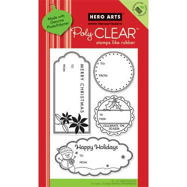 Hero Arts - Poly Clear - Christmas - Clear Acrylic Stamps - Happy Holiday Tags