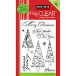 Hero Arts - Poly Clear - Christmas - Clear Acrylic Stamps - Merry Christmas Trees