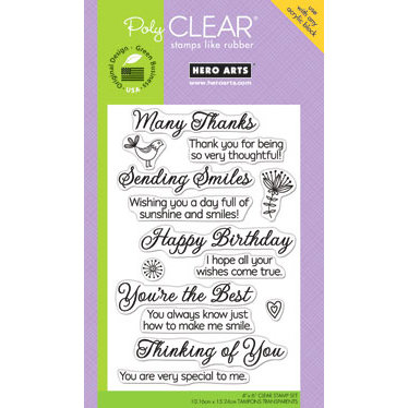 Hero Arts - Poly Clear - Clear Acrylic Stamps - Sending Smiles Message