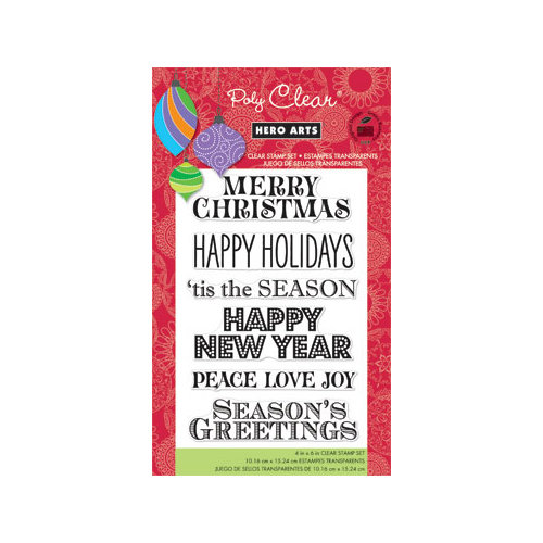 Hero Arts - Poly Clear - Christmas - Clear Acrylic Stamps - Greetings for the Holiday