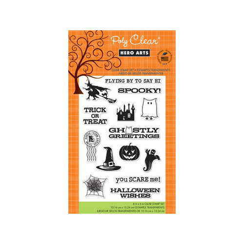 Hero Arts - Poly Clear - Halloween - Clear Acrylic Stamps - Ghostly Greetings