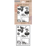 Hero Arts - BasicGrey - Aspen Frost Collection - Poly Clear - Clear Acrylic Stamps - Happy Holidays