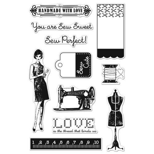 Hero Arts - BasicGrey - Lucille Collection - Poly Clear - Clear Acrylic Stamps - Sew Perfect
